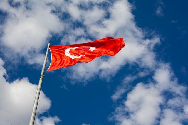 vlajka Turecka vo vetre